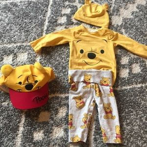 Winnie the Pooh outfit w/beanie and hat.